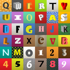 Set of vector letters in color squares