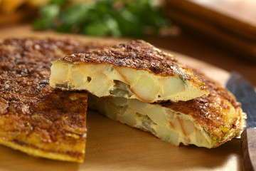 Homemade Spanish tortilla (omelette with potatoe, onion)