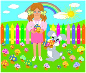 Poster Regenboog mantar toplayan kız çocuğu ile sevimli tavşan
