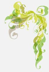 green Vintage floral ornament