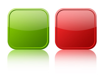 Red and green blank web buttons