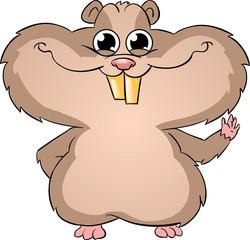 cute hamster waving
