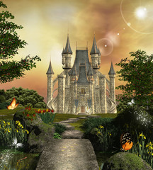 Wall Mural - Castle in an enchanted garden