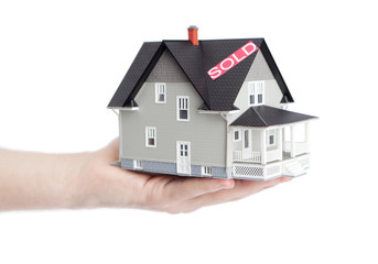 Hand holding household architectural model, isolated