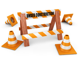 Under construction symbol - Cones and barrier 3d