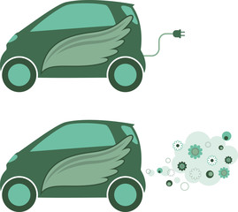Eco car. Green floral icons