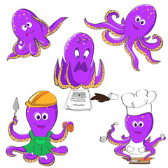 Set of octopuses