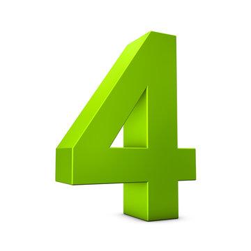Number 4 3d render illustration