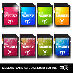 Memory cards as download buttons.