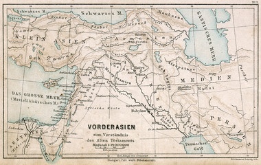 Map of the Middle East. The Bible. Germany, 1895