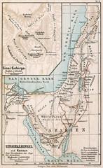 Map of Sinai Peninsula. The Bible. Germany, 1895