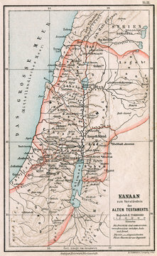 Map of Israel and Palestine. The Bible. Germany, 1895