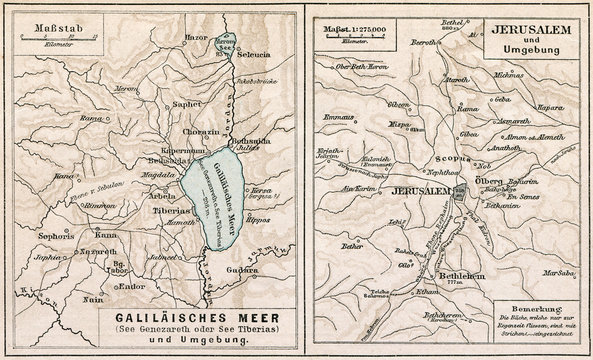 Map of Sea of ​​Galilee and Jerusalem. The Bible. Germany, 1895
