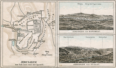 Map of Jerusalem and surroundings. The Bible. Germany, 1895