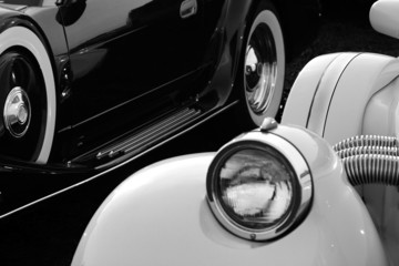 Fotobehang Vintage cars Retro cars in black and white