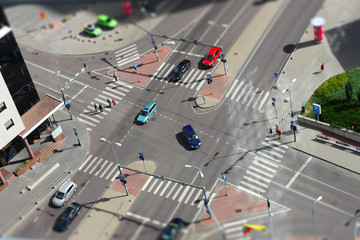 City street traffic from aerial view