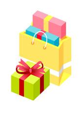Vector Icon shopping bag and gift box