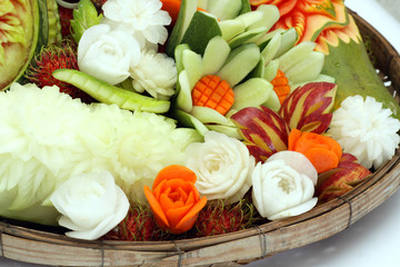 Carved fruits and vegetables in the basket