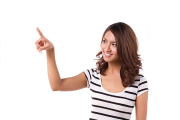 happy woman pointing or choosing on isolated white background