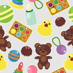 seamless background with baby objects