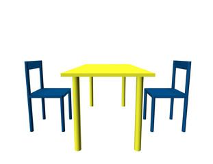 Ilustración de dos sillas azules y una mesa amarilla.
