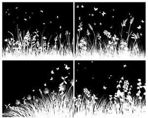 meadow silhouette set
