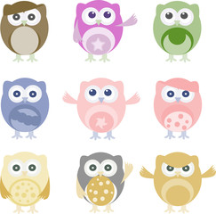 Set of nine cartoon owls with various emotions