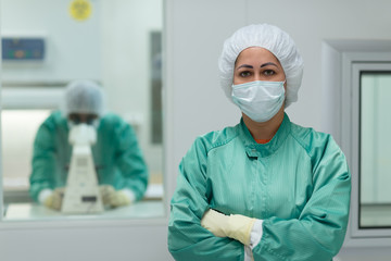 Lab personnel at work in medicine industry