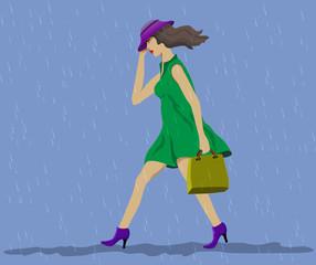 Moves fast woman. Steady rain.