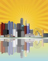 Singapore City Skyline with Sun Rays Illustration