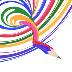 Abstract background line of colour pencil as rainbow illustratio