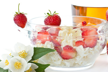 Sweet milk cottage cheese with strawberries