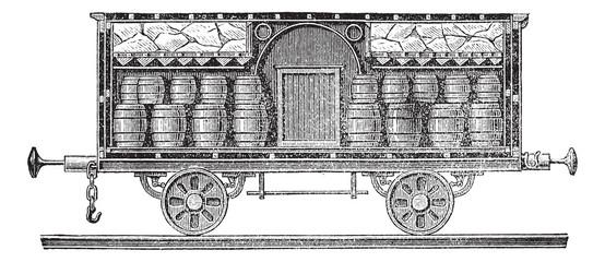 Iced beer barrels on wagon vintage engraving