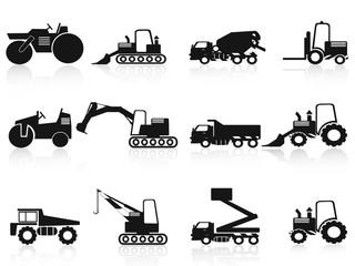 black Construction Vehicles icons set