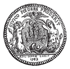 Coin of the town of Dieppe, showing two sirens and a boat, vinta