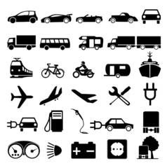 Symbole Set Verkehr Silhouette