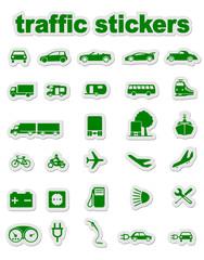 traffic stickers in green
