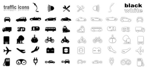 Symbole Set Verkehr - Silhouette schwarz/weiß