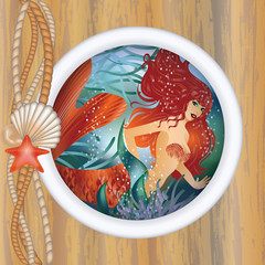 Photo sur Plexiglas Mermaid Beautiful mermaid in porthole. vector illustration