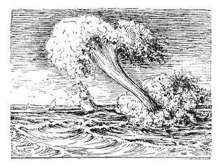 Waterspout, vintage engraving.