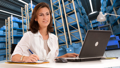 Receptionist at distribution warehouse c