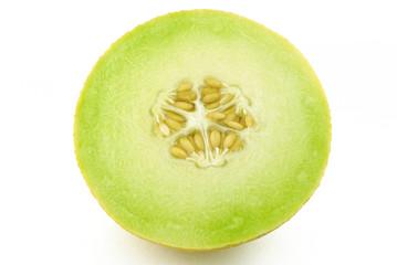 Half of yellow melon cantaloupe