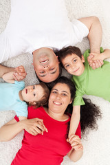 Happy family with two children