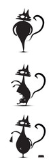 Three funny black cats stylized in different ways