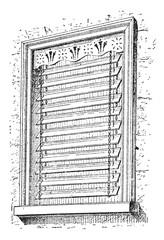 Jalousie window, vintage engraving.