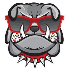 Dog with retro glasses