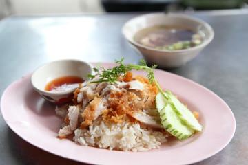 Thai food gourmet fried chicken with rice , khao mun kai tod in