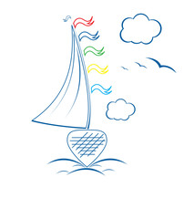 Sailing ship in the ocean with clouds vector format