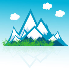 range of mountains with clouds vector format background