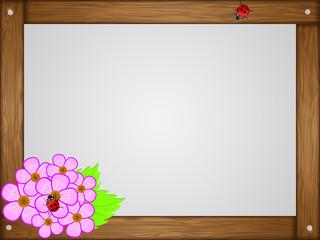 Wooden frame and flower. Vector illustration.